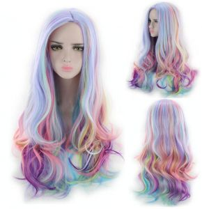 25 inch Long Wavy Wigs Rainbow Ice Cream Long Curly Hair Women Girls Styled  Synthetic Hair Cosplay Costume Wigs For Party Halloween 280 Grams 5223c4327a