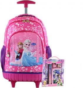 Frozen Kids  Rolling Latop School trolley Backpack with one set stationery  17inch for 3-12years old e4226b72b2499