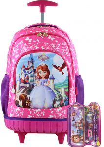 Sofia Kids  Rolling Latop School trolley Backpack with one set stationery  17inch 3-12years old b6b604f1a7e8c