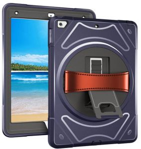 6681ac0debace iPad 9.7 inch Hard Back Cover with Hand Belt Kickstand PC Silicone Hybrid  Anti Slip Shockproof Case for apple iPad 9.7 2018