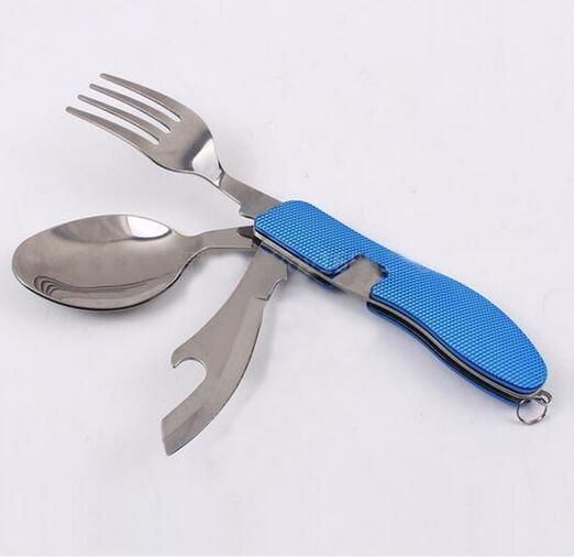 Multifunction 3 in 1 Folding Stainless Steel Fork Knife Dinnerware Outdoor Camping Picnic Tableware