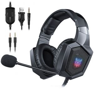 a8ba10bbc30 ONIKUMA Gaming Headset - Updated K8 Headset Gaming for PS4 Xbox One, Stereo  Over-ear Headphones & Noise-canceling Microphone with Mic for PC Computer,  Black