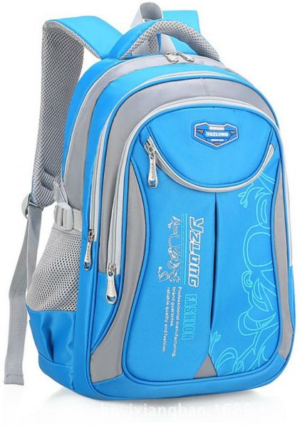 Waterproof Shoulder Canvas Backpack Bag Kids School Students Travel Bag  Small Size Blue+Grey  3e597ad383b41