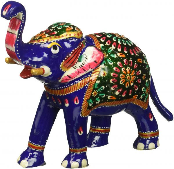 Buy Souvnear 64 Inch Trunk Up Elephant Statue With White Metal Work