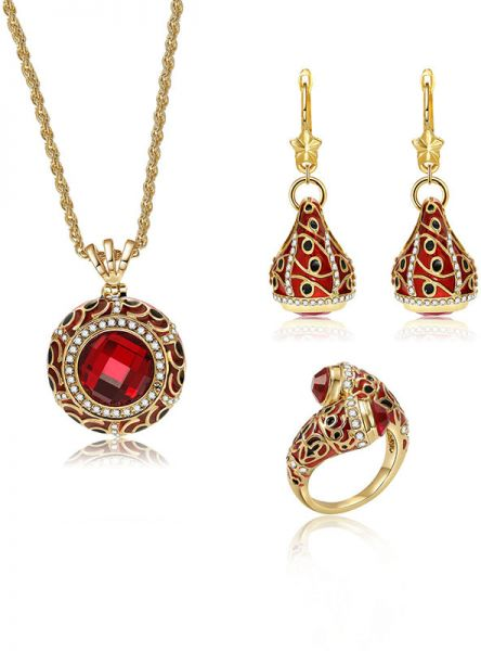 Vintage Retro Gemstone Crystal Pendant Necklace and Earring Statement Ring Set