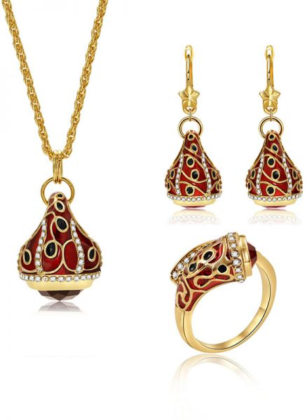 Women Red Artificial Gemstone Pendant Necklace Earrings Bracelet Jewelry Set