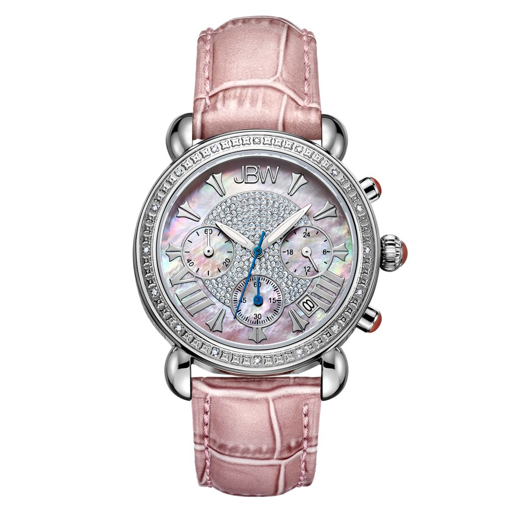 JBW Victory Women's 16 Diamonds Mother of Pearl Dial Leather Band Chronograph Watch