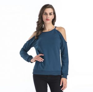 b719adeb86b502 Women's T-shirt off shoulder Leisure all-match Loose Hoodie
