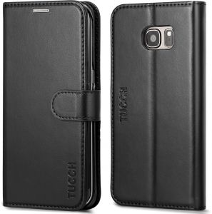 ... s7 edge case,TUCCH Multifunction Premium PU Leather Wallet Book Case compatible with Samaung galaxy s7 edge Kickstand Function Card slots -Black