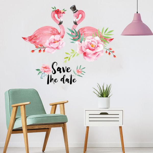 flamingos wall art decal removable stickers peel and stick wall