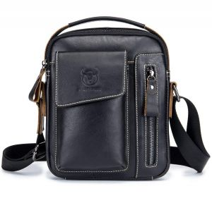 36cdf9a9562b BULL CAPTAIN Mens Shoulder Bag Vintage Fashion Genuine Leather Cross Body Satchel  Bag For Business Casual Travel Black