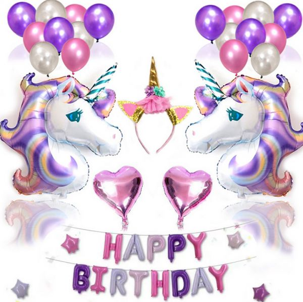 38PCS Lovely Unicorn Balloon Pink Purple Latex Foil Stars Happy Birthday Balloons Party Decorations Heart Inflatable Letter Ballons Mm