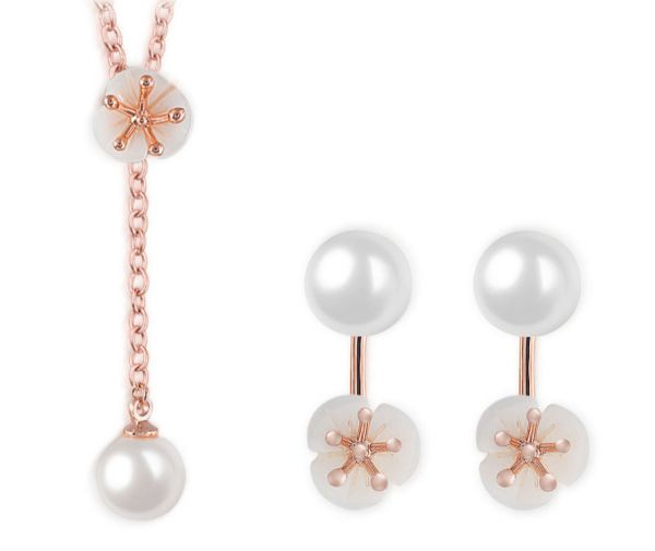 Pearl Petal Rose Gold Necklace Stud Earring Set