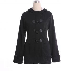 63e099cb6f81b Hooded mixed cotton classic horn leather buckle jacket jacket cotton coat  women