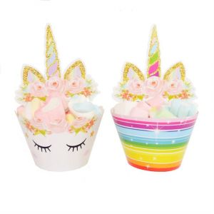 ec7313ca386a3 Pack of 24 Unicorn Birthday Party Supplies Double Sided Cake Cupcake  Toppers Unicorn Horn Cake Decoration Kit for Girl Birthday Baby Shower and  Wedding