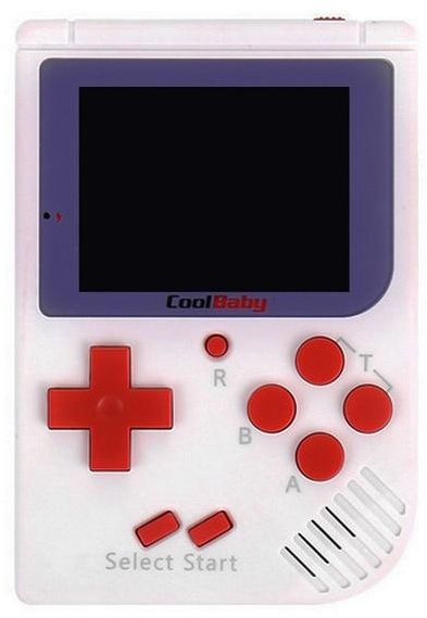 CoolBaby Game Console Mini Handheld Game Player Built-in 129 Classic Retro Games Video Game Console - White