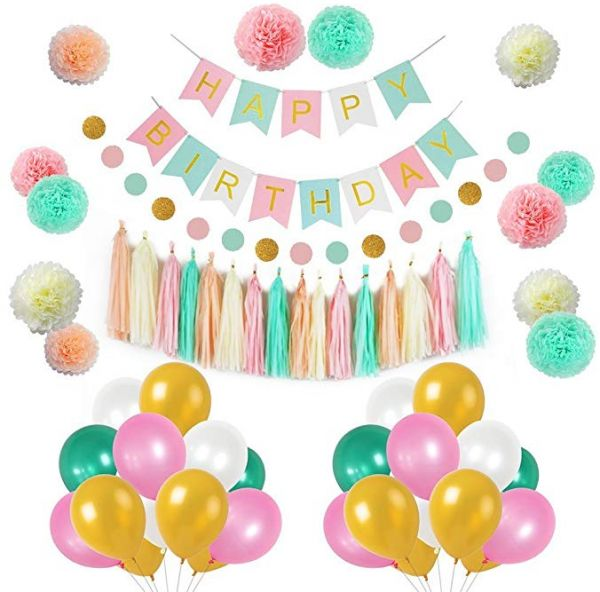 88pcs Colorful Balloons Girls Birthday Decorations, Hanging Birthday Banner, Pom Poms Flowers Kit, Paper Garland, Tassels and Balloons for 1 Birthday ...