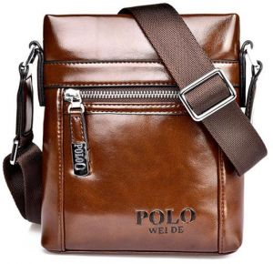 a2fdac9429c POLO WeiDeMen s Shoulder Small Bag Diagonal Retro Cover Casual Bag Material  Vertical Square Men s Chest Crossbody Bag