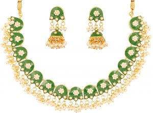 e997ff8b631 ... green meenakari enamel magical and mystical style grand designer  jewelry necklace set beautifully hung with fresh water pearls for women in  gold tone