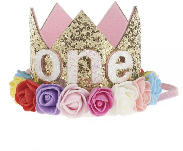 One Year Old Baby Princess Tiara Crown Girls Kids First Birthday Hat Sparkle Gold Flower Style With Artificial Rose Party Decor