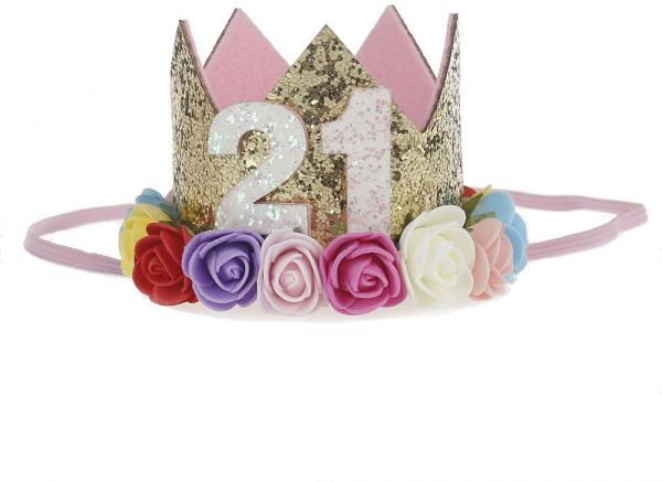 21st Baby Girl Birthday Party Hat Gold Crown Princess Tiara