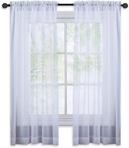 NICETOWN Premium White Sheer Curtains Rod Pocket Window Treatment Voile Drapes For Bedroom 1 Pair W152cm X L160cm