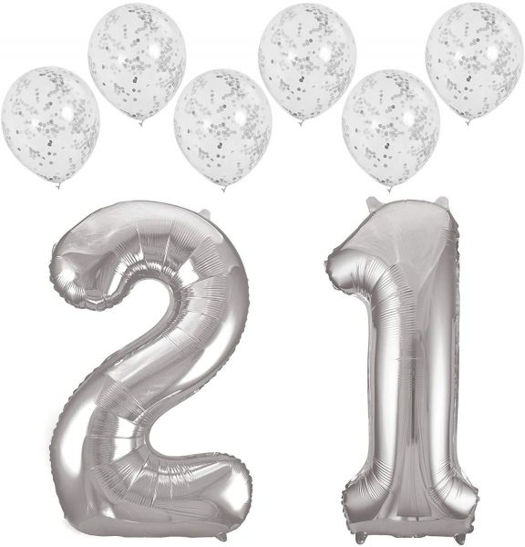 Giant SILVER21 Foil Mylar Balloon 32in 80cm Set Of 6 SILVER