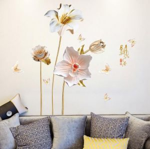 Lily Flowers Vinyl Wall Decals Modern Wall Art Wall Murals Wall Stickers For Living Room Bedroom Kitchen Wall Decor Home Decoration