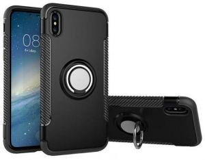 IPhone XS MAX 6.5 inch Shockproof Armor Case with Rotating Ring Grip Kickstand Soft TPU Hard PC Rugged Back Cover