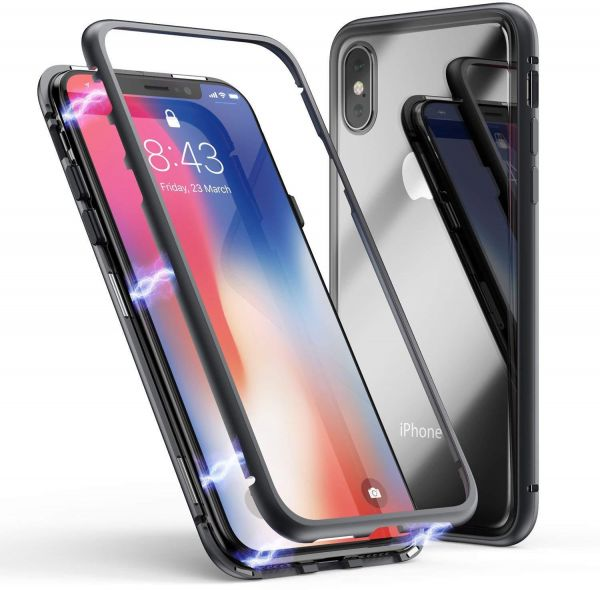 finest selection c7fa9 c04c4 iPhone XS/X Case Magnetic Adsorption Case Support Wireless Charging Metal  Frame Tempered Glass Back with Built-in Magnet Cover for Apple iPhone XS ...