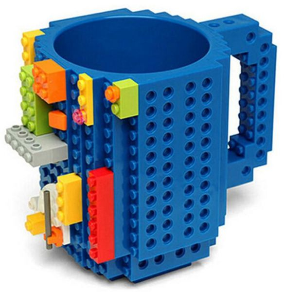 Build-On Brick Mug Lego Type Creative DIY Building Blocks Coffee Cup Water Bottle Puzzle Toy Mug Desk Ornament Christmas Gift