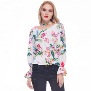 fa18f2b9c8 Gamiss Floral White Round Neck Blouse For Women