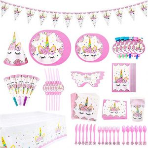 90 Pieces Unicorn Themed Party Supplies Set Girls Birthday Decorations Disposable Tableware For Kids Table Cover Napkins Plates Cups Banner Invitation Cards