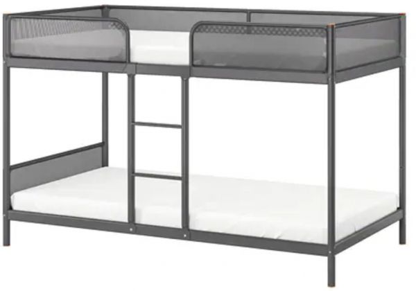 TUFFING Bunk bed frame, dark grey
