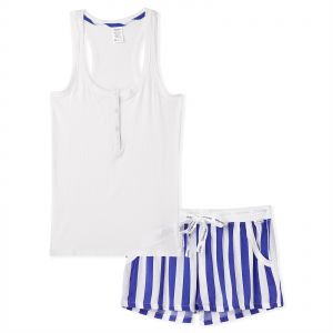 77e688d2f85 Calvin Klein Giftpack Vertical Stripe Sleeveless Short Sleepwear Set for  Women- Blue   White