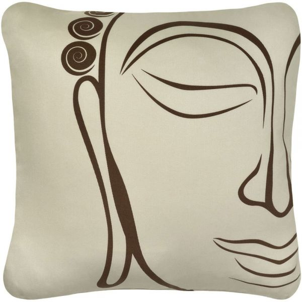 Wabisabi Green Buddha Decorative Modern Organic Cotton Square Throw Adorable Buddha Decorative Pillows