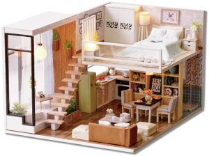DIY Miniature Loft Dollhouse Kit Realistic Mini 3D Wooden House Room Toy With Furniture LED Lights Christmas Childrens Day Birthday Gift