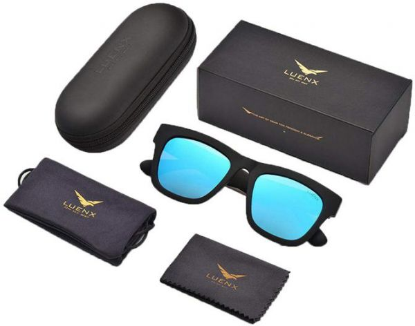 d043ae0da32 LUENX Mens Wayfarer Sunglasses Polarized UV 400 Protection With case. by  Other