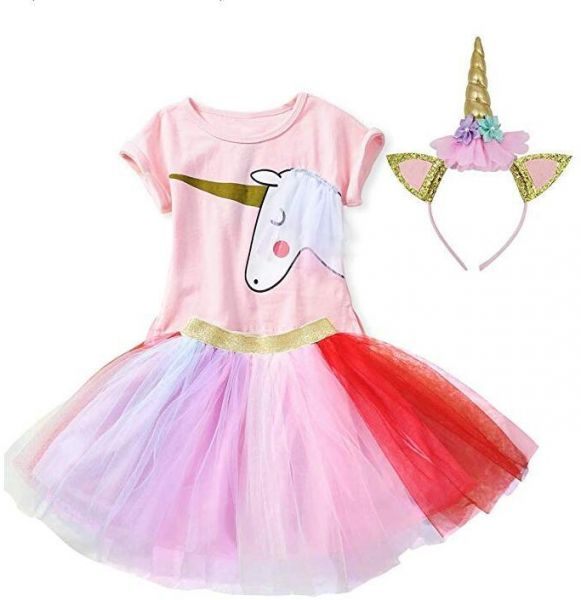 37addba62f Girls Casual Birthday Party Supplies Unicorn Dresses Pink Tops ...