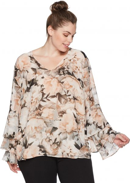 7405a634c13 Calvin Klein Women s Plus Size Printed Ruffle Long Sleeve