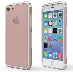 PureGear GlassBak 360, Premium Aluminum 360° Bumper Case + Tempered Glass Back Protection, Slim Protective Case Cover Functional Metal Buttons for iPhone 7 ...