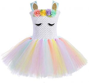 e9b466f6cc2 Girls Rainbow Unicorn Tutu Dress Princess Fancy Dress Birthday Pageant Party  Dresses Girls Christmas Halloween Pony Cosplay Costume for Baby Girls   Kids  ...
