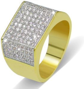 men s ring Men s jewelry Gold-plated micro-inlaid zircon ring Hip-hop  hipster jewelry 9US 2725fcfae494