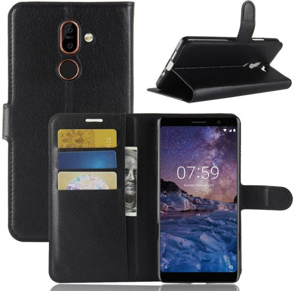 Nokia 7 Plus - Leather Wallet Flip Card Stand Case Cover Black