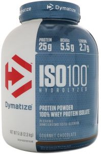 Dymatize Nutrition Iso 100 Percent Whey Protein Isolate Powder Gourmet Chocolate 5 Lbs