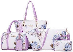 Handbags Sets for Women PU Leather Light Purple with Multi-Color Embossing Crossbody  Tote Shoulder Satchels Bags Clutches Wallet Card Holder 6 Pcs Bag Set 005de7096c