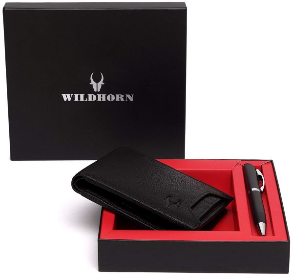 63d732b19d2 WildHorn 2 in 1 Gift Combo Genuine Leather Hand-Crafted Bifold Wallet and  Slim Ballpoint Pen