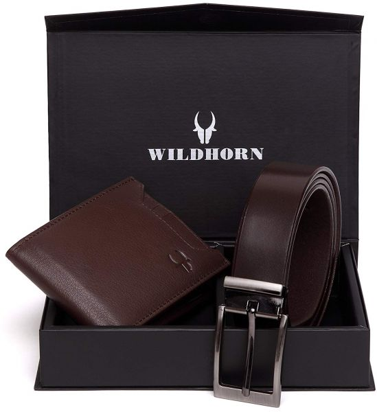 ab2a02b10a1 WildHorn 2 in 1 Gift Combo Genuine Leather Hand-Crafted Bifold ...