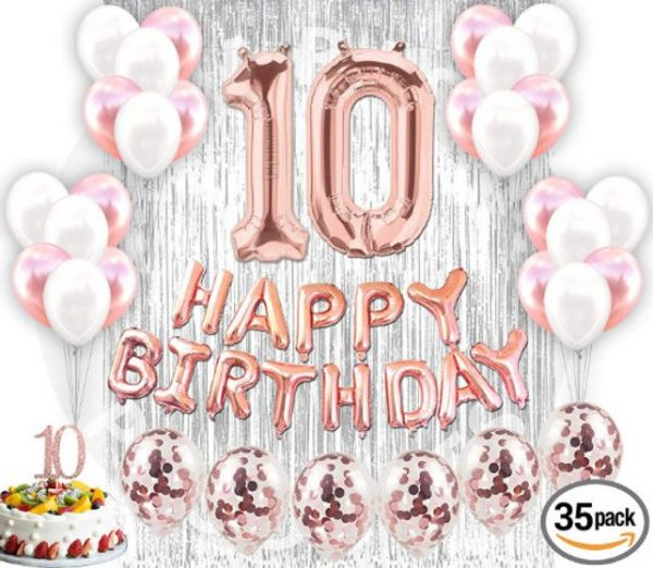 10th Birthday Decorations 10 Party Supplies Rose Gold