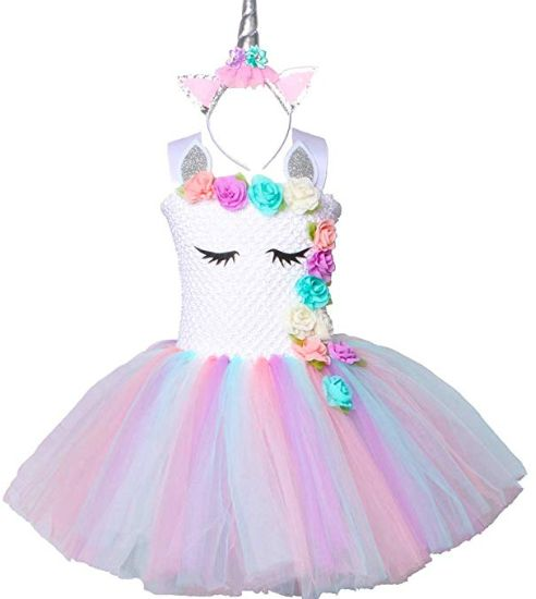 b8cd97c992a6 Pastel Unicorn Tutu Dress for Girls Kids Birthday Party Unicorn Costume  Outfit with Headband pompous skirts dance costumes dresses 6-7 Years